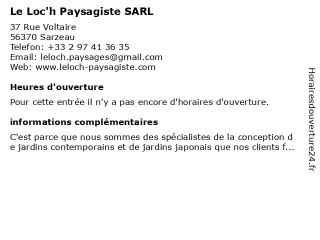 Le Loc'h Paysagiste SARL à Sarzeau: adresse et heures d'ouverture