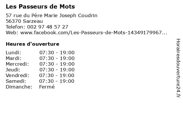 Les Passeurs de Mots à Sarzeau: adresse et heures d'ouverture