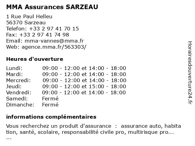 MMA SARZEAU à Sarzeau: adresse et heures d'ouverture