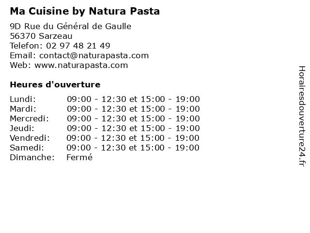 Ma Cuisine by Natura Pasta à Sarzeau: adresse et heures d'ouverture