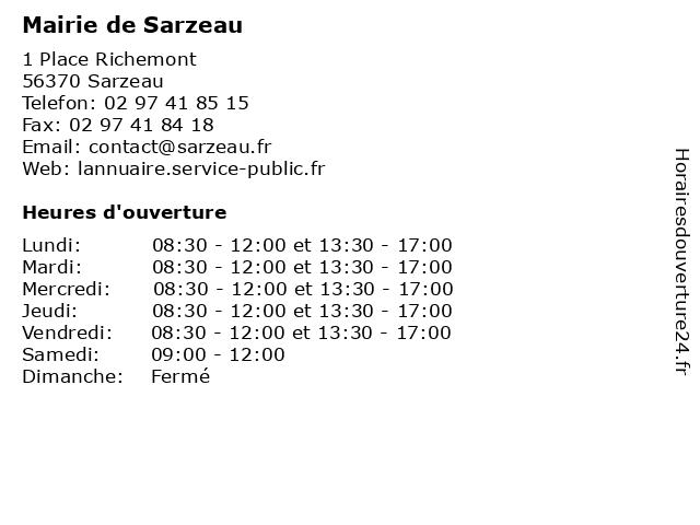 Mairie de Sarzeau à Sarzeau: adresse et heures d'ouverture