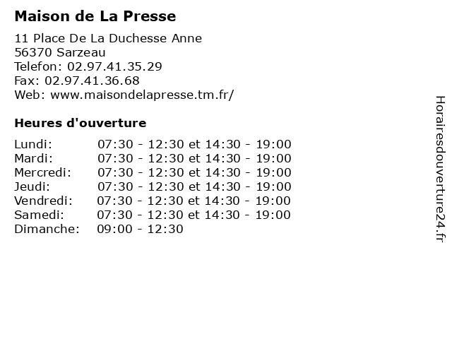 Maison de La Presse à Sarzeau: adresse et heures d'ouverture