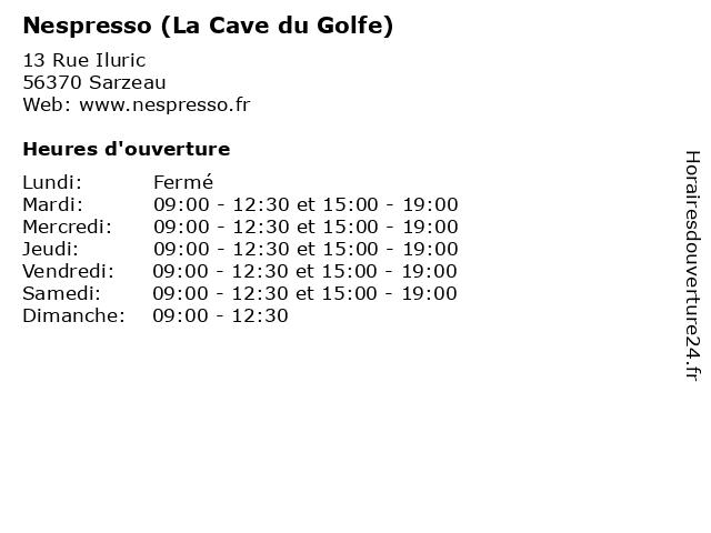 Nespresso (La Cave du Golfe) à Sarzeau: adresse et heures d'ouverture