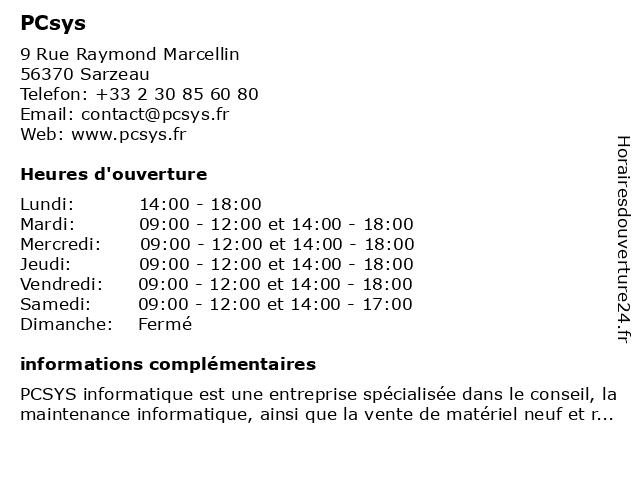 PCsys à Sarzeau: adresse et heures d'ouverture