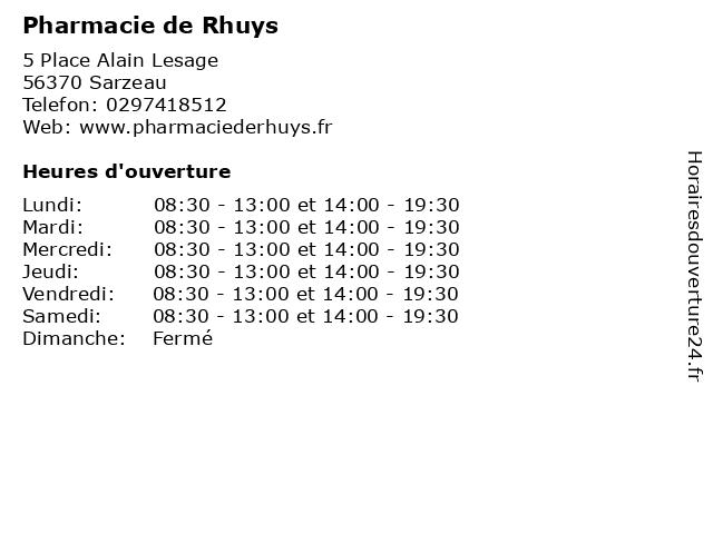 Pharmacie de Rhuys à Sarzeau: adresse et heures d'ouverture