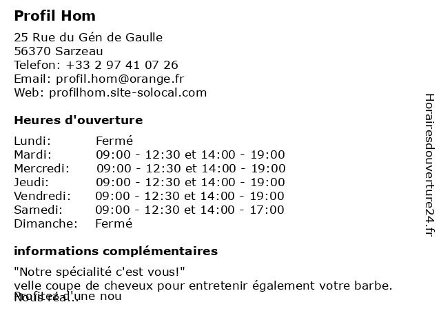Profil Hom à Sarzeau: adresse et heures d'ouverture