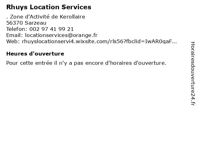 Rhuys Location Services à Sarzeau: adresse et heures d'ouverture