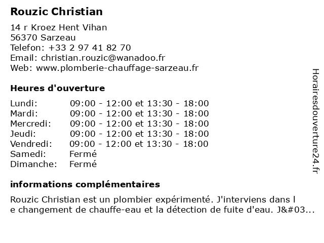 Rouzic Christian à Sarzeau: adresse et heures d'ouverture