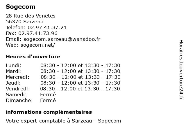 Sogecom à Sarzeau: adresse et heures d'ouverture