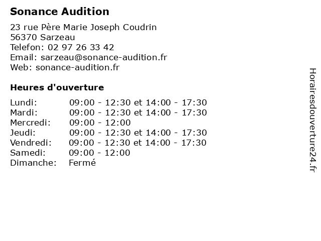 Sonance Audition à Sarzeau: adresse et heures d'ouverture