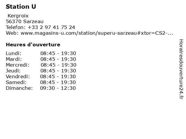 Station U à Sarzeau: adresse et heures d'ouverture