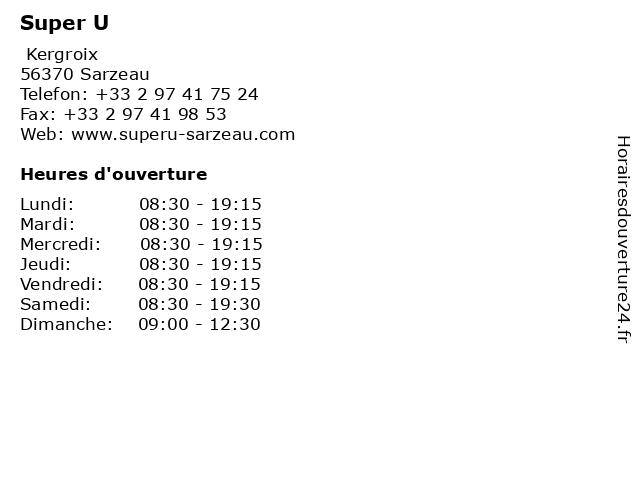 Super U à Sarzeau: adresse et heures d'ouverture
