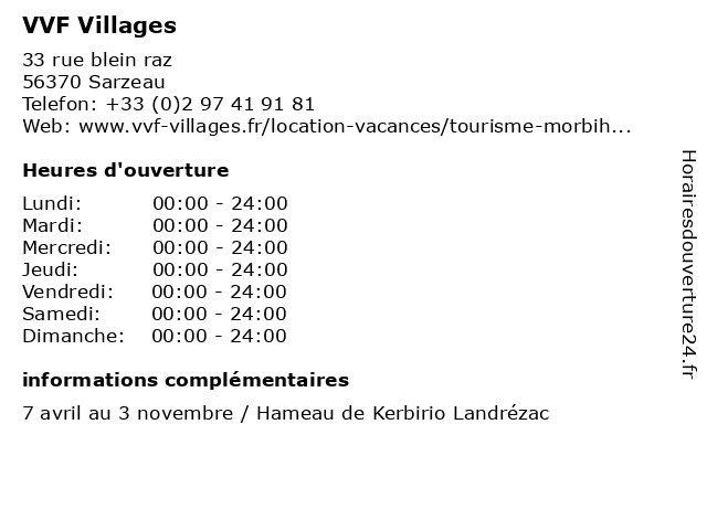 VVF Villages à Sarzeau: adresse et heures d'ouverture