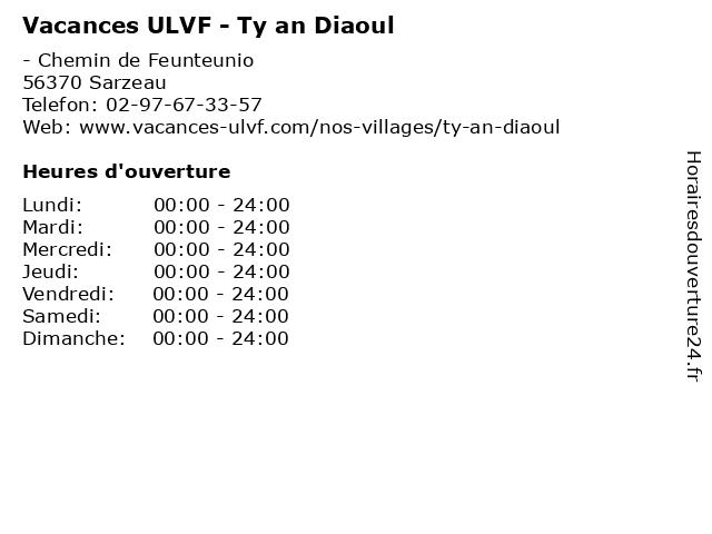 Vacances ULVF - Ty an Diaoul à Sarzeau: adresse et heures d'ouverture