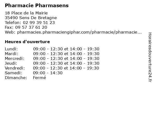 Pharmacie Pharmasens à Sens De Bretagne: adresse et heures d'ouverture
