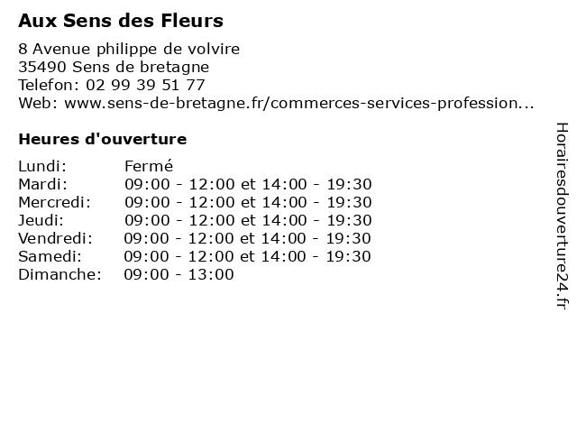 Aux Sens des Fleurs à Sens de bretagne: adresse et heures d'ouverture