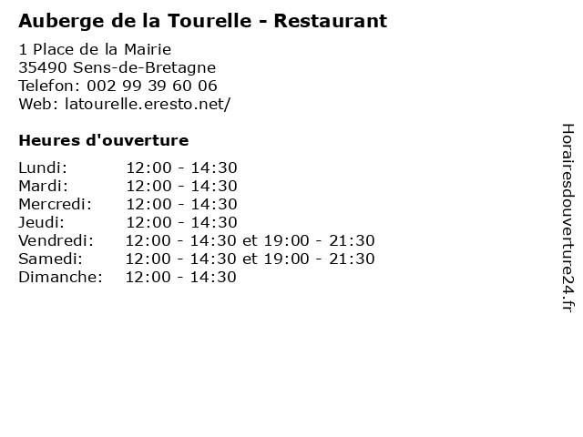 Auberge de la Tourelle - Restaurant à Sens-de-Bretagne: adresse et heures d'ouverture