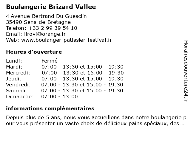 Boulangerie Brizard Vallee à Sens-de-Bretagne: adresse et heures d'ouverture