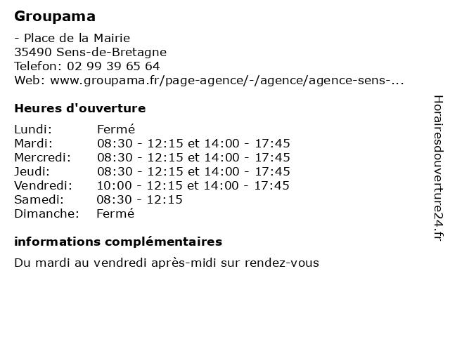 Groupama à Sens-de-Bretagne: adresse et heures d'ouverture