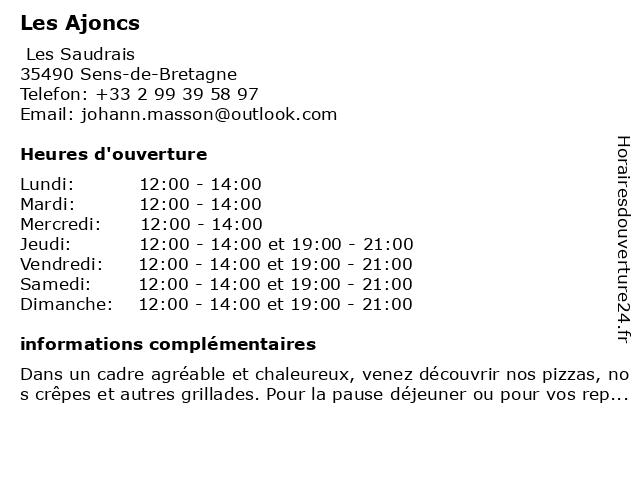 Les Ajoncs à Sens-de-Bretagne: adresse et heures d'ouverture