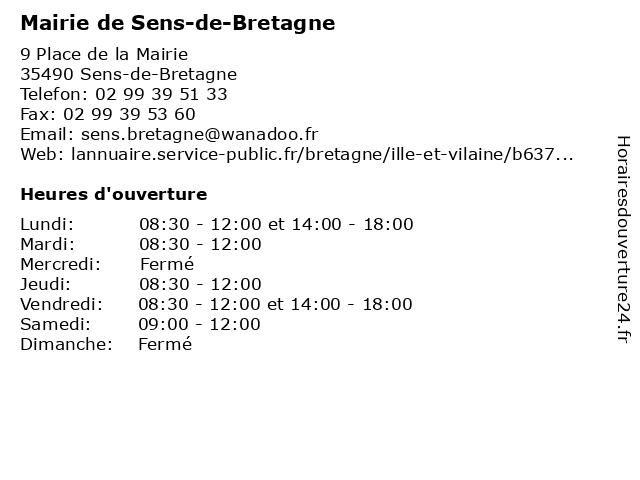 Mairie de Sens-de-Bretagne à Sens-de-Bretagne: adresse et heures d'ouverture