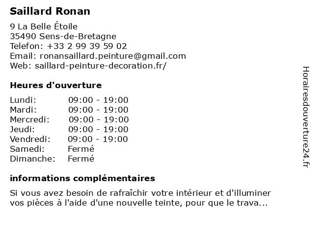 Saillard Ronan à Sens-de-Bretagne: adresse et heures d'ouverture