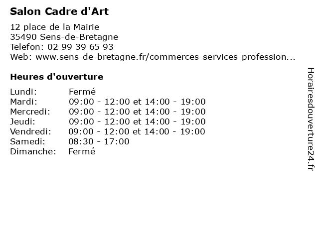 Salon Cadre d'Art à Sens-de-Bretagne: adresse et heures d'ouverture