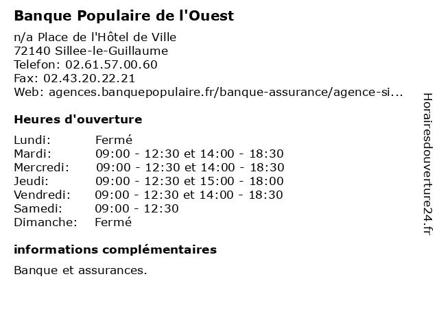 Banque Populaire de l'Ouest à Sillee-le-Guillaume: adresse et heures d'ouverture