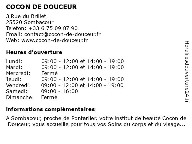 COCON DE DOUCEUR à Sombacour: adresse et heures d'ouverture