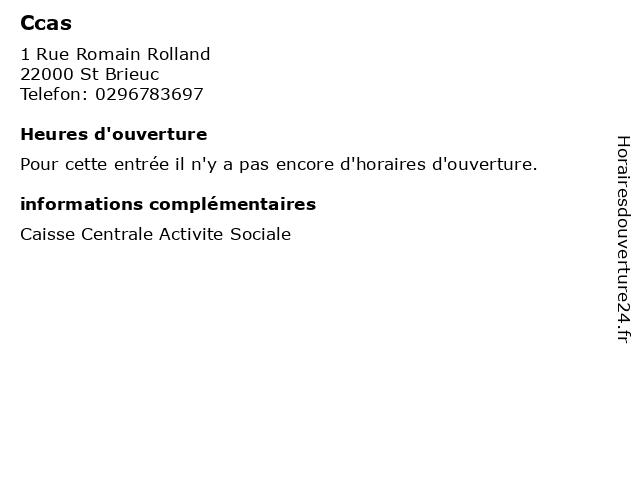 Ccas à St Brieuc: adresse et heures d'ouverture