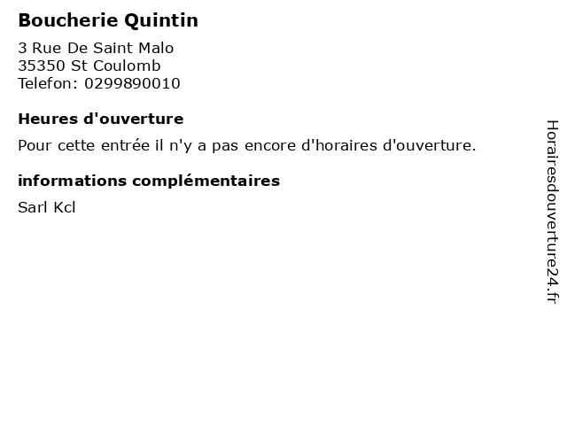 Boucherie Quintin à St Coulomb: adresse et heures d'ouverture