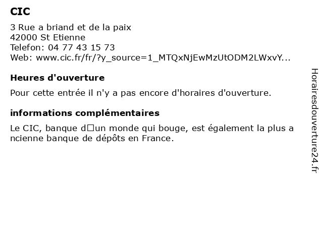 CIC à St Etienne: adresse et heures d'ouverture
