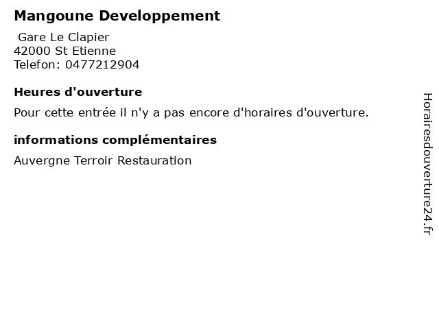 Mangoune Developpement à St Etienne: adresse et heures d'ouverture
