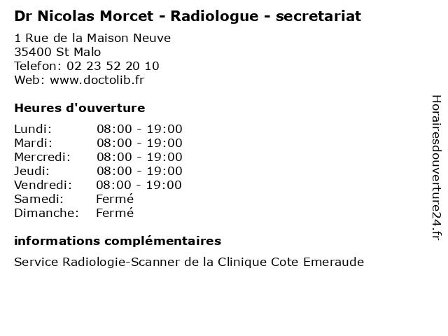 Dr Nicolas Morcet - Radiologue - secretariat à St Malo: adresse et heures d'ouverture