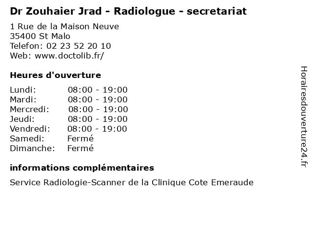 Dr Zouhaier Jrad - Radiologue - secretariat à St Malo: adresse et heures d'ouverture