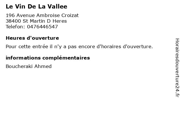 Le Vin De La Vallee à St Martin D Heres: adresse et heures d'ouverture
