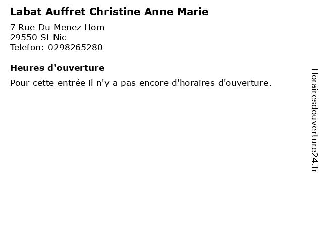 Labat Auffret Christine Anne Marie à St Nic: adresse et heures d'ouverture