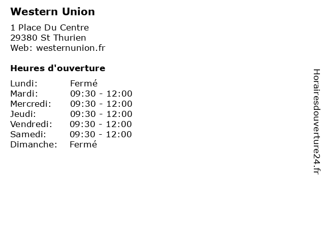 Western Union à St Thurien: adresse et heures d'ouverture