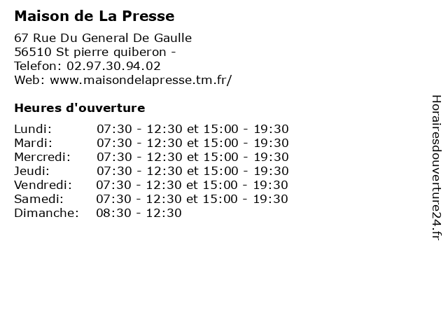 Maison de La Presse à St pierre quiberon -: adresse et heures d'ouverture