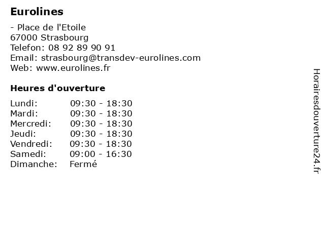 Eurolines à Strasbourg: adresse et heures d'ouverture