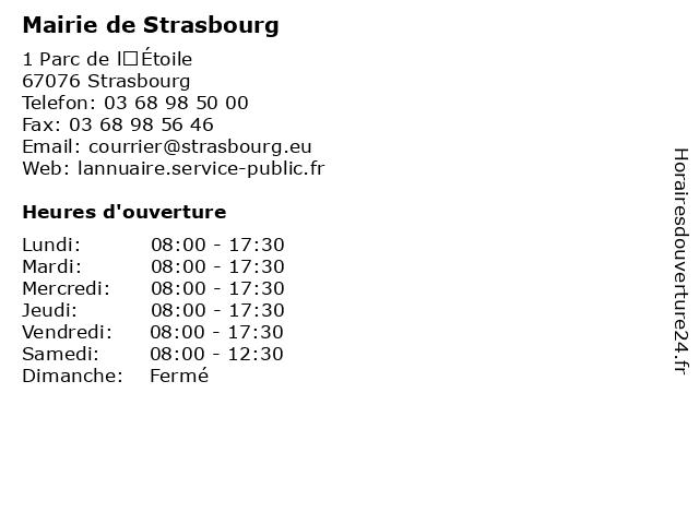 Mairie de Strasbourg à Strasbourg: adresse et heures d'ouverture