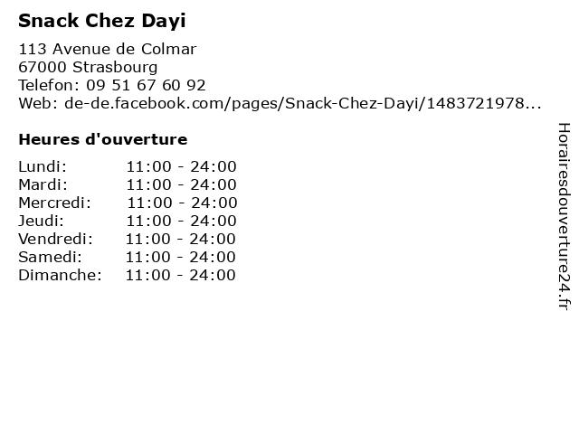 Snack Chez Dayi à Strasbourg: adresse et heures d'ouverture