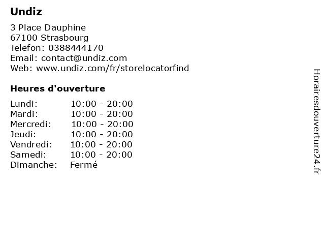 Undiz à Strasbourg: adresse et heures d'ouverture