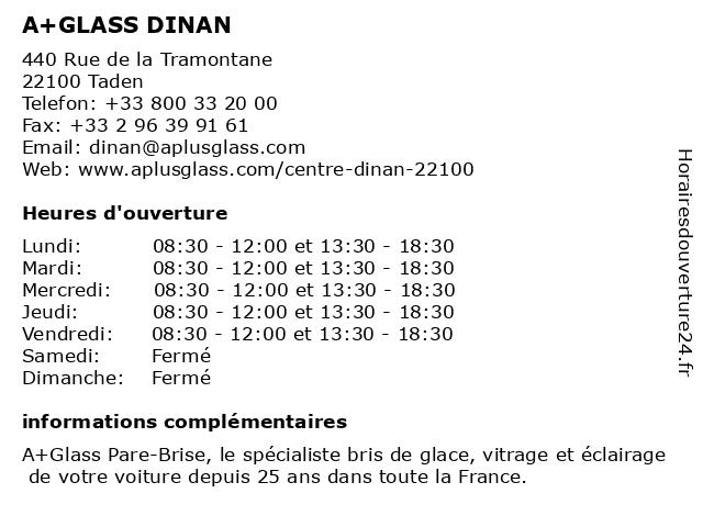 A+GLASS PARE BRISE DINAN à Taden: adresse et heures d'ouverture