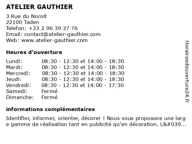 ATELIER GAUTHIER à Taden: adresse et heures d'ouverture