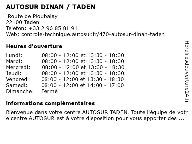 AUTOSUR DINAN / TADEN à Taden: adresse et heures d'ouverture