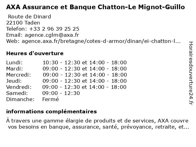 AXA Assurance OLIVIER GUILLO à Taden: adresse et heures d'ouverture