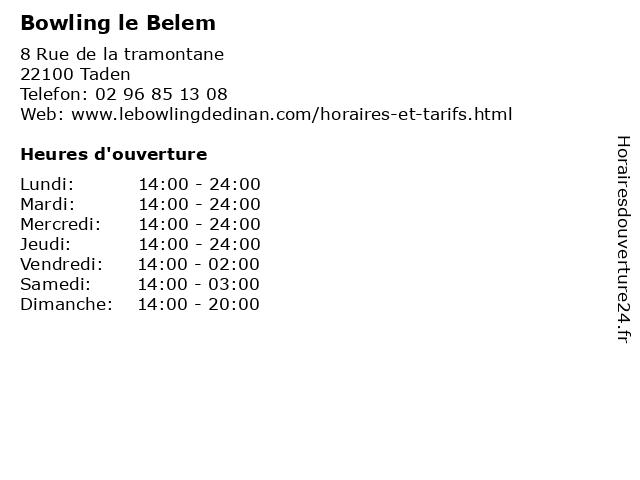 Bowling le Belem à Taden: adresse et heures d'ouverture