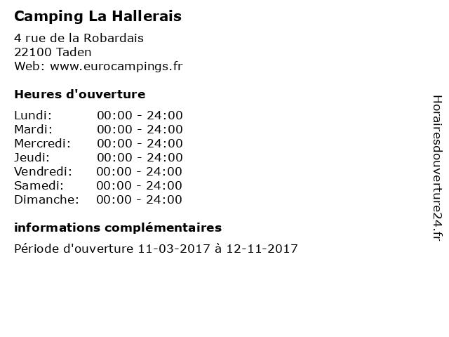 Camping La Hallerais à Taden: adresse et heures d'ouverture