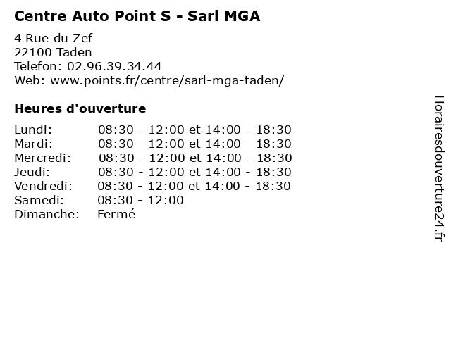 Centre Auto Point S - Sarl MGA à Taden: adresse et heures d'ouverture